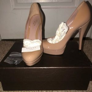 Gucci Nude Patent Leather Heels